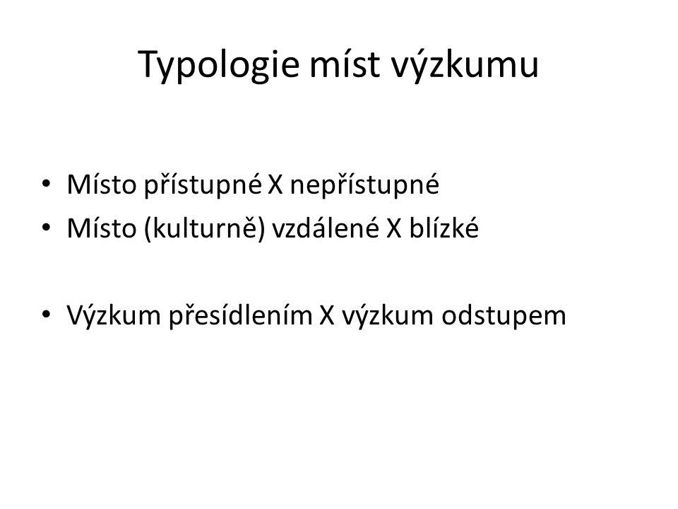 Typologie míst výzkumu Místo přístupné X nepřístupné Místo (kulturně) vzdálené X blízké Výzkum přesídlením X výzkum odstupem