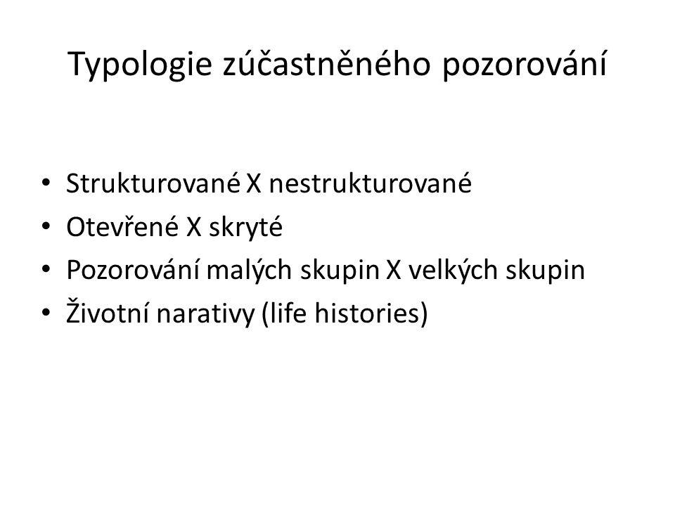 Typologie zúčastněného pozorování Strukturované X nestrukturované Otevřené X skryté Pozorování malých skupin X velkých skupin Životní narativy (life h