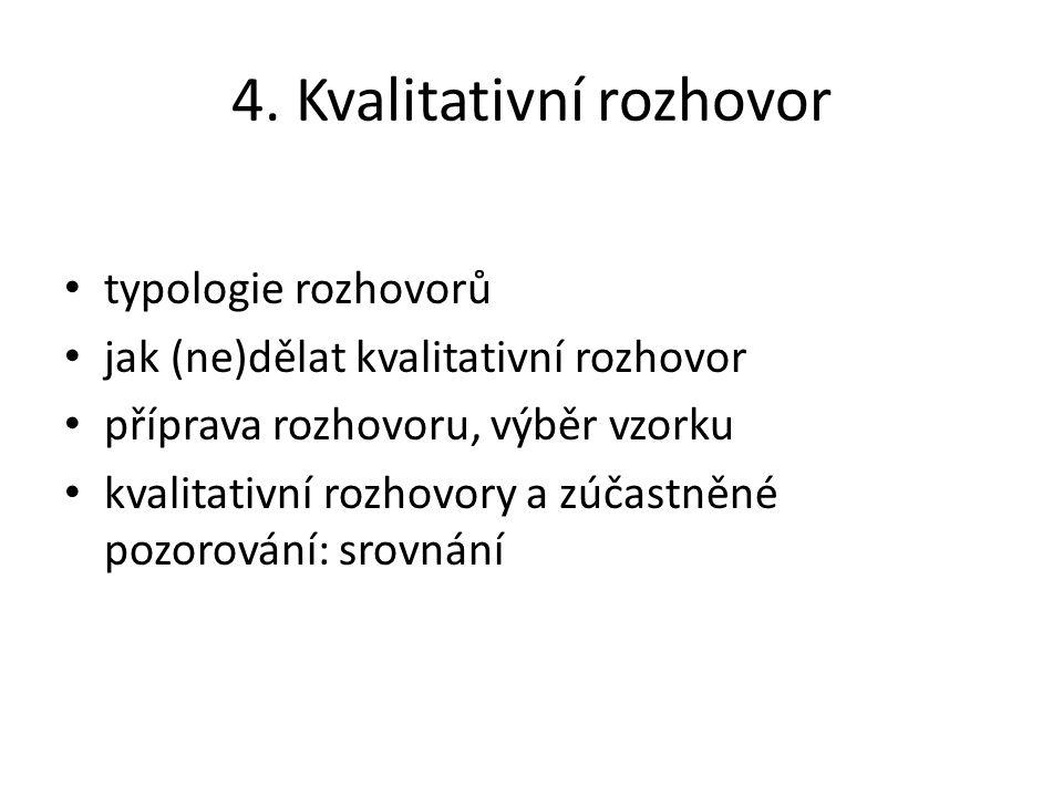 4. Kvalitativní rozhovor typologie rozhovorů jak (ne)dělat kvalitativní rozhovor příprava rozhovoru, výběr vzorku kvalitativní rozhovory a zúčastněné