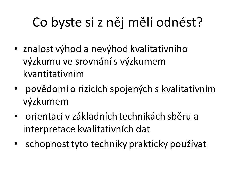 Paradigmata poznání Dle M. Havelka 2004: