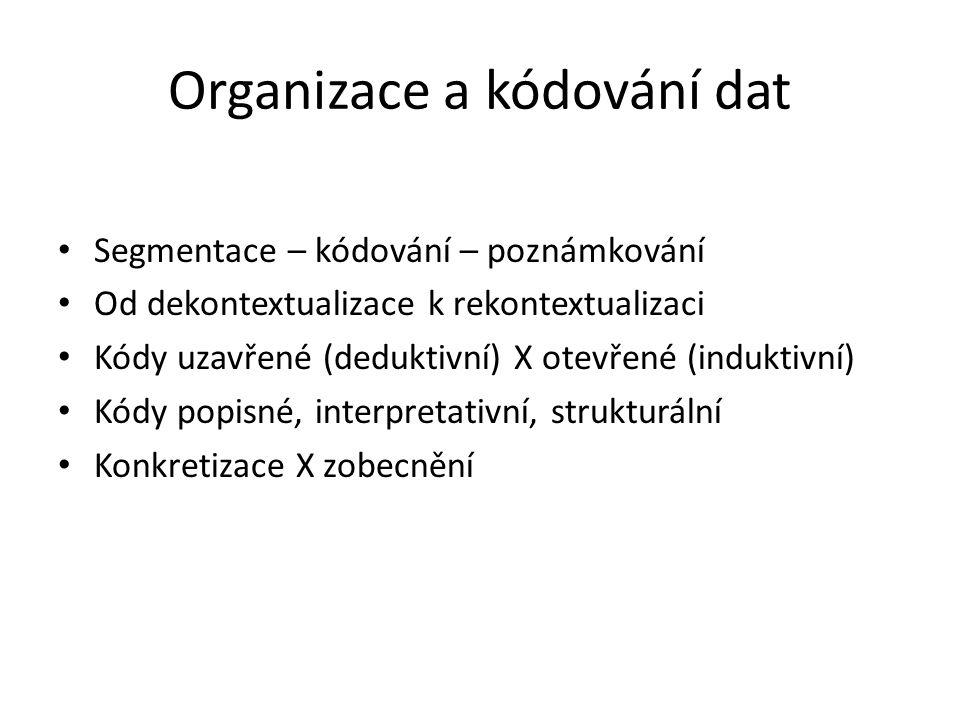 Organizace a kódování dat Segmentace – kódování – poznámkování Od dekontextualizace k rekontextualizaci Kódy uzavřené (deduktivní) X otevřené (indukti