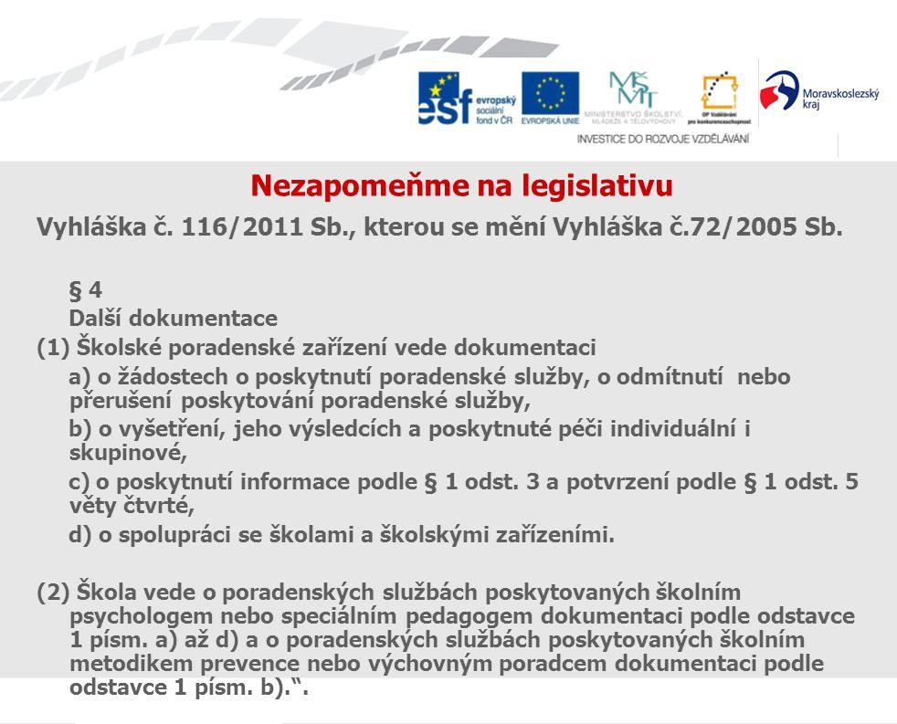 Nezapomeňme na legislativu Vyhláška č. 116/2011 Sb., kterou se mění Vyhláška č.72/2005 Sb. § 4 Další dokumentace (1) Školské poradenské zařízení vede
