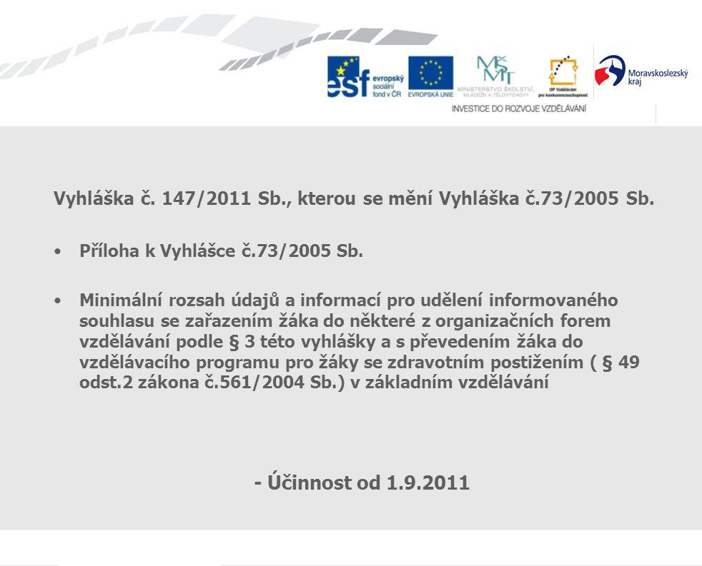 Vyhláška č. 147/2011 Sb., kterou se mění Vyhláška č.73/2005 Sb. Příloha k Vyhlášce č.73/2005 Sb. Minimální rozsah údajů a informací pro udělení inform