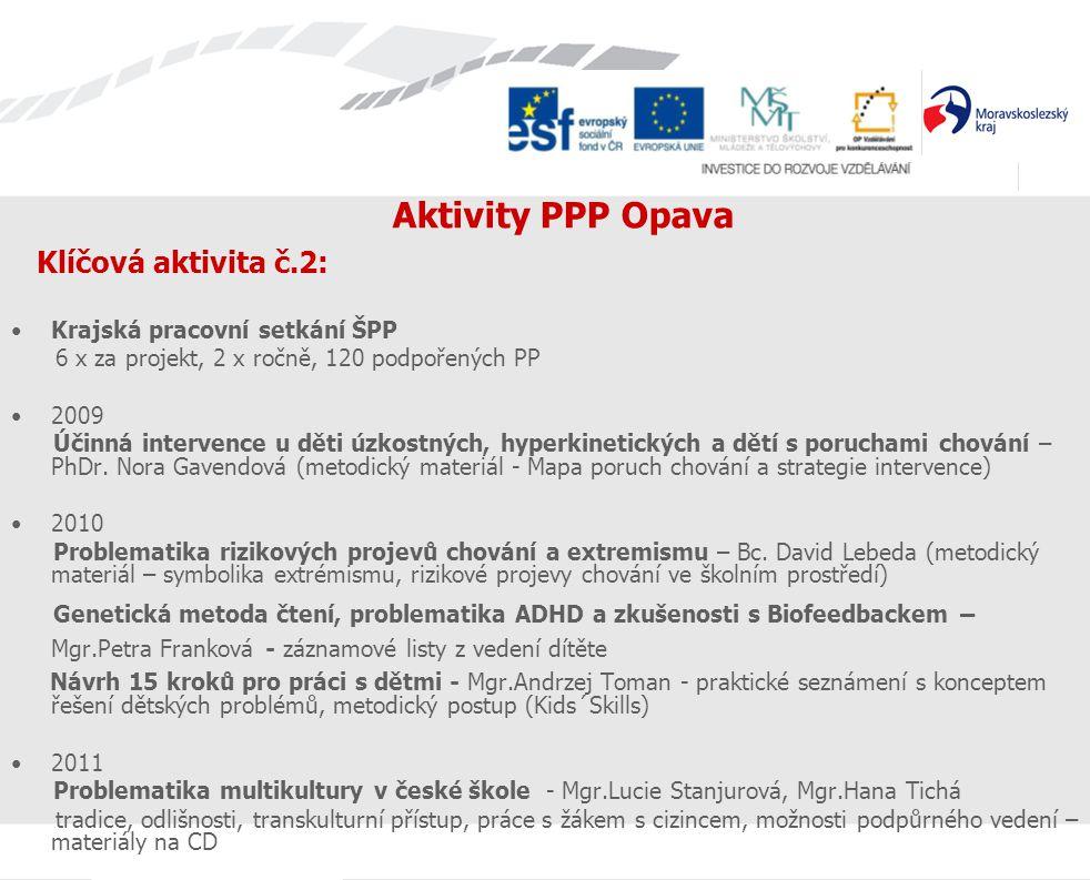 Aktivity PPP Opava Klíčová aktivita č.2: Krajská pracovní setkání ŠPP 6 x za projekt, 2 x ročně, 120 podpořených PP 2009 Účinná intervence u děti úzko