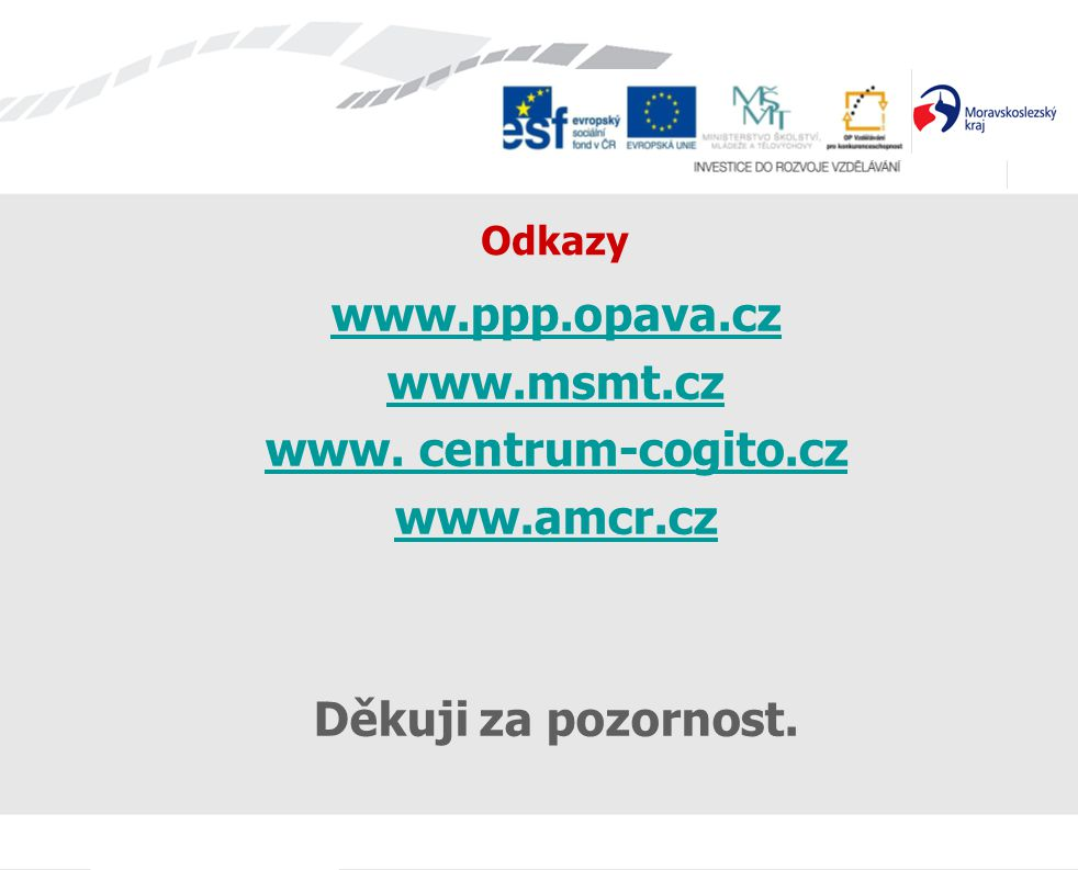 Odkazy www.ppp.opava.cz www.msmt.cz www. centrum-cogito.cz www.amcr.cz Děkuji za pozornost.