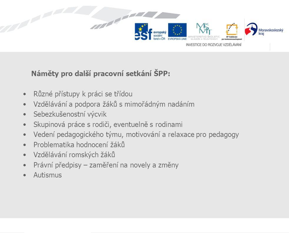 Náměty pro další pracovní setkání ŠPP: Různé přístupy k práci se třídou Vzdělávání a podpora žáků s mimořádným nadáním Sebezkušenostní výcvik Skupinov