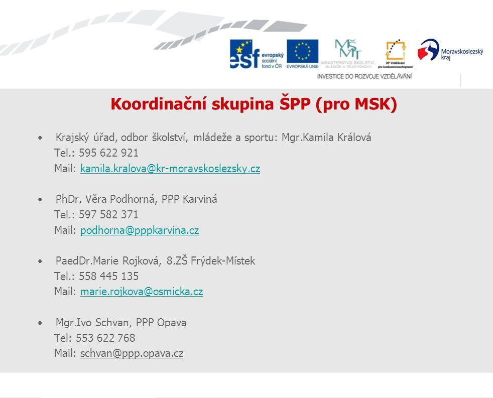 Koordinační skupina ŠPP (pro MSK) Krajský úřad, odbor školství, mládeže a sportu: Mgr.Kamila Králová Tel.: 595 622 921 Mail: kamila.kralova@kr-moravsk