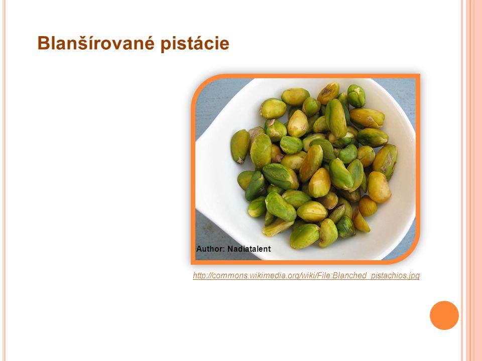 http://commons.wikimedia.org/wiki/File:Blanched_pistachios.jpg Author: Nadiatalent Blanšírované pistácie