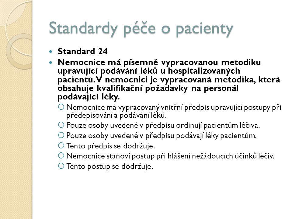 Standardy péče o pacienty Standard 24 Nemocnice má písemně vypracovanou metodiku upravující podávání léků u hospitalizovaných pacientů.
