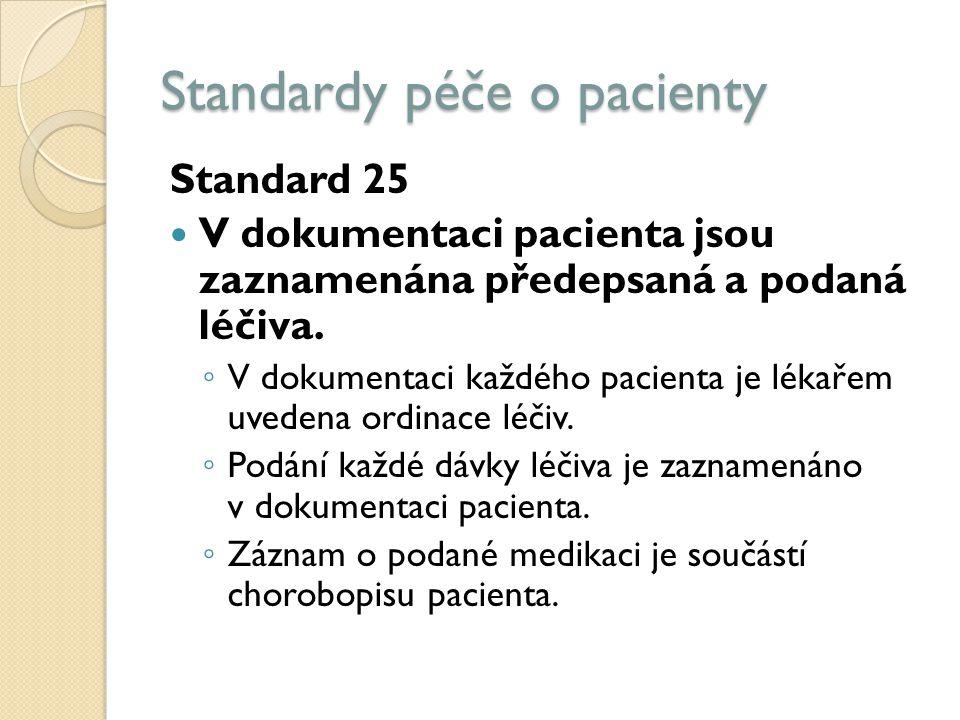 Standardy péče o pacienty Standard 25 V dokumentaci pacienta jsou zaznamenána předepsaná a podaná léčiva.