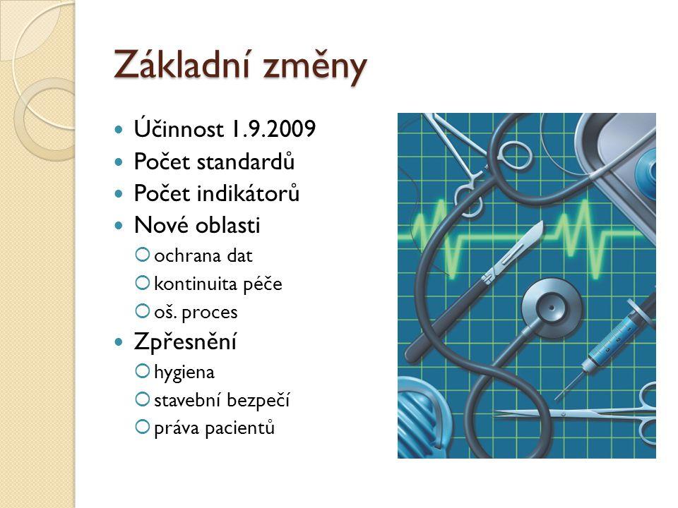 Základní změny Účinnost 1.9.2009 Počet standardů Počet indikátorů Nové oblasti  ochrana dat  kontinuita péče  oš.