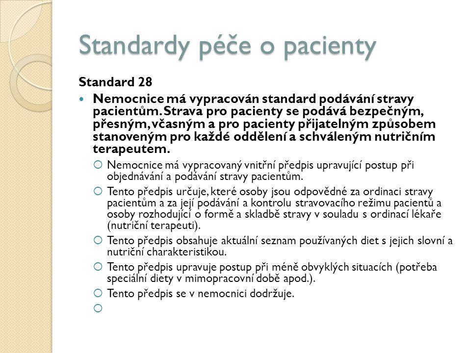 Standardy péče o pacienty Standard 28 Nemocnice má vypracován standard podávání stravy pacientům.