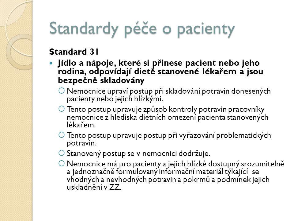 Standardy péče o pacienty Standard 31 Jídlo a nápoje, které si přinese pacient nebo jeho rodina, odpovídají dietě stanovené lékařem a jsou bezpečně skladovány  Nemocnice upraví postup při skladování potravin donesených pacienty nebo jejich blízkými.
