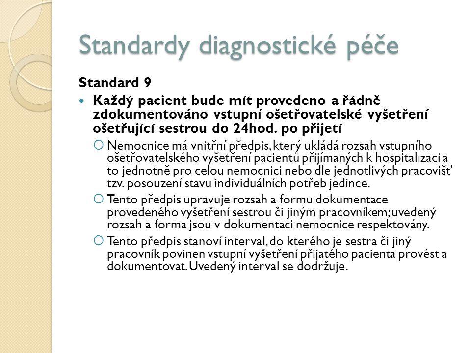 Standardy diagnostické péče Standard 9 Každý pacient bude mít provedeno a řádně zdokumentováno vstupní ošetřovatelské vyšetření ošetřující sestrou do 24hod.