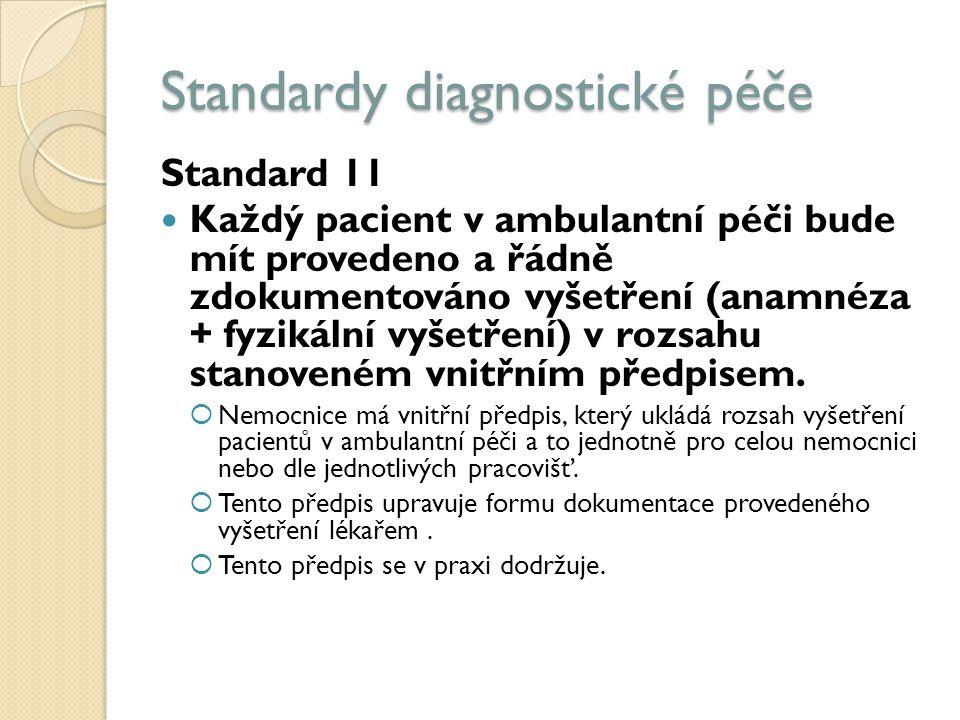 Standardy diagnostické péče Standard 11 Každý pacient v ambulantní péči bude mít provedeno a řádně zdokumentováno vyšetření (anamnéza + fyzikální vyšetření) v rozsahu stanoveném vnitřním předpisem.
