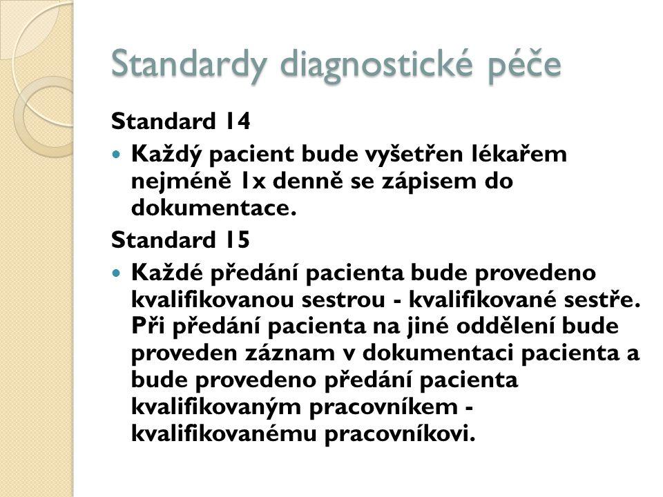 Standardy diagnostické péče Standard 14 Každý pacient bude vyšetřen lékařem nejméně 1x denně se zápisem do dokumentace.