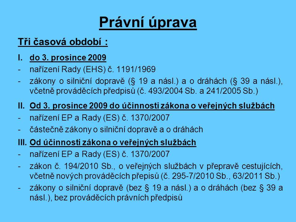 Právní úprava Tři časová období : I.do 3.prosince 2009 - nařízení Rady (EHS) č.