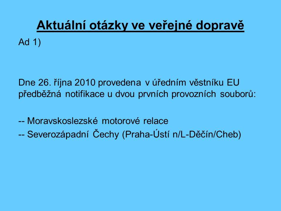 Aktuální otázky ve veřejné dopravě Ad 1) Dne 26.