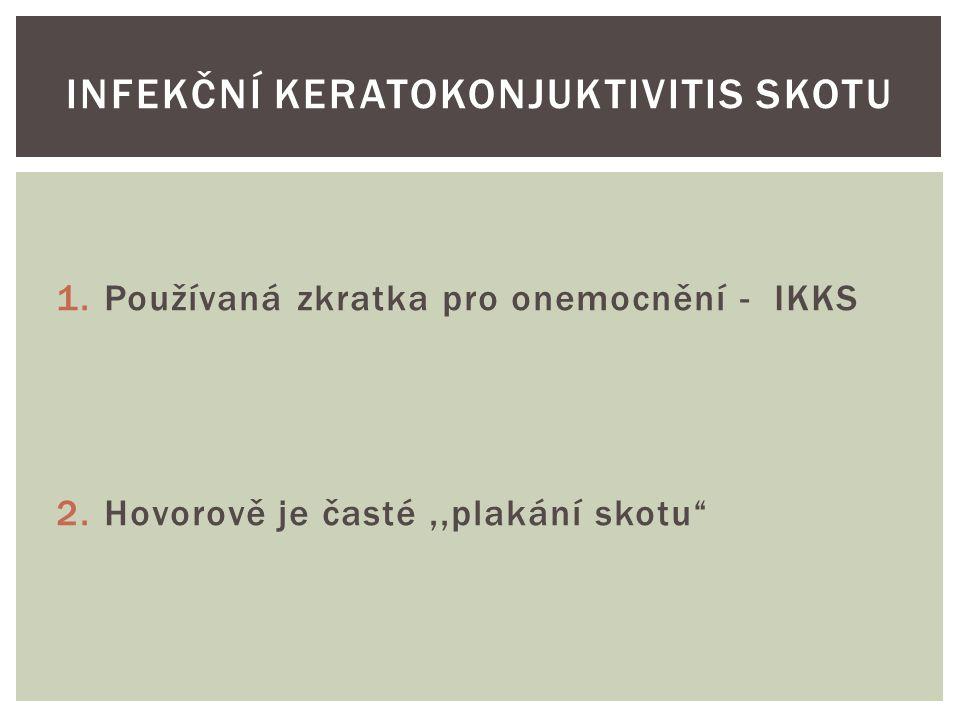 1.Používaná zkratka pro onemocnění - IKKS 2.Hovorově je časté,,plakání skotu INFEKČNÍ KERATOKONJUKTIVITIS SKOTU