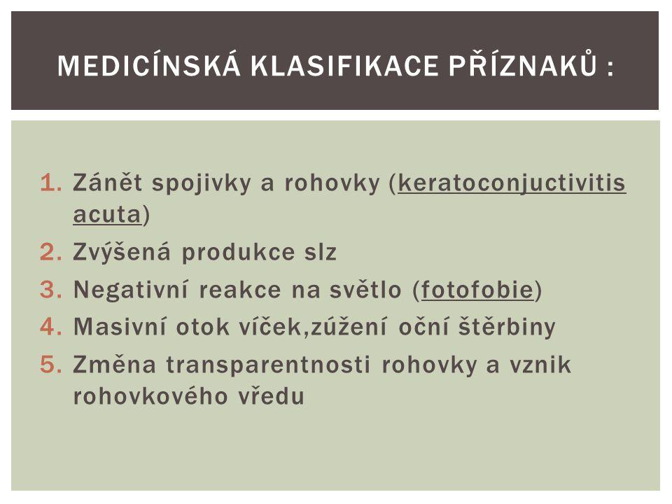 1.Zánět spojivky a rohovky (keratoconjuctivitis acuta) 2.Zvýšená produkce slz 3.Negativní reakce na světlo (fotofobie) 4.Masivní otok víček,zúžení oční štěrbiny 5.Změna transparentnosti rohovky a vznik rohovkového vředu MEDICÍNSKÁ KLASIFIKACE PŘÍZNAKŮ :
