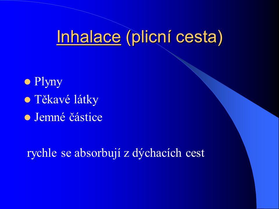 Inhalace (plicní cesta) Plyny Těkavé látky Jemné částice rychle se absorbují z dýchacích cest