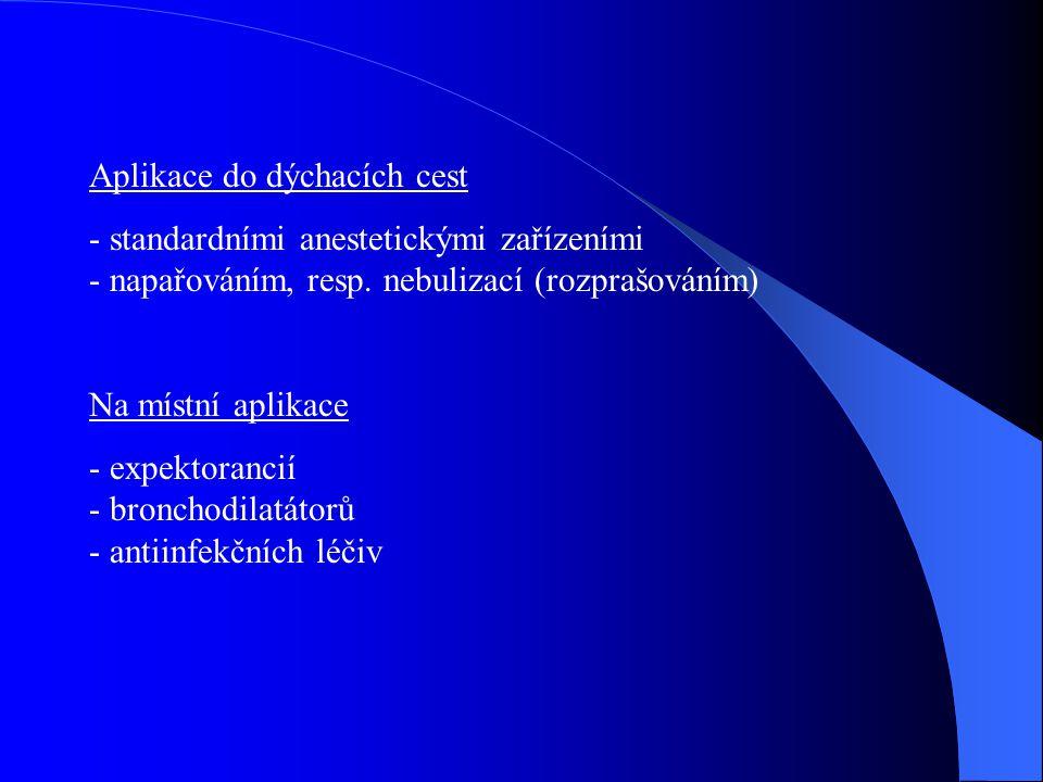 Aplikace do dýchacích cest - standardními anestetickými zařízeními - napařováním, resp. nebulizací (rozprašováním) Na místní aplikace - expektorancií