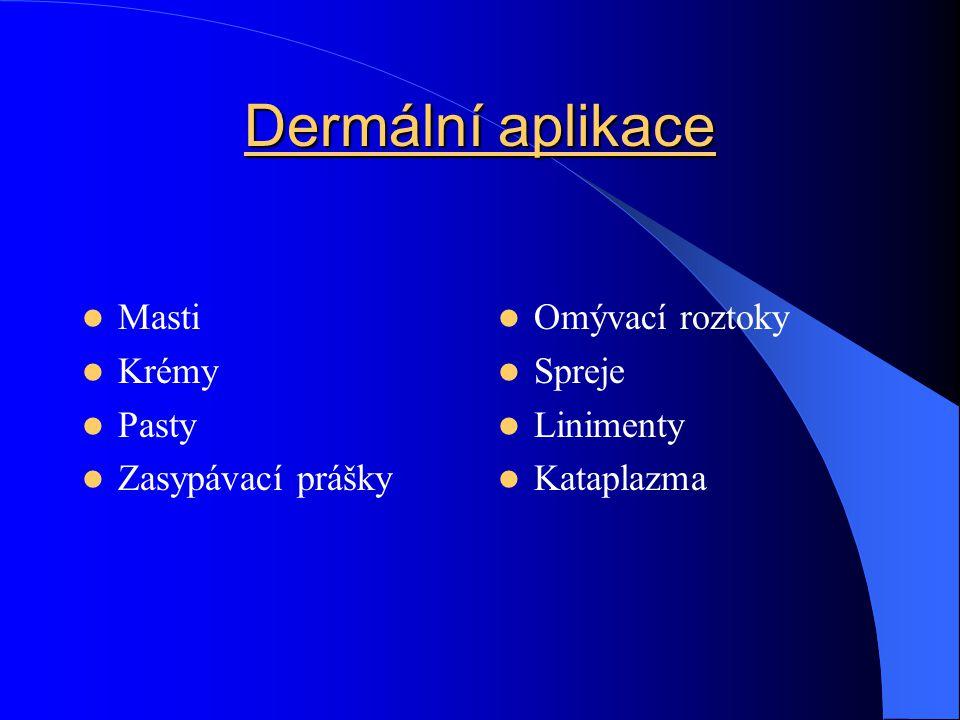 Dermální aplikace Masti Krémy Pasty Zasypávací prášky Omývací roztoky Spreje Linimenty Kataplazma