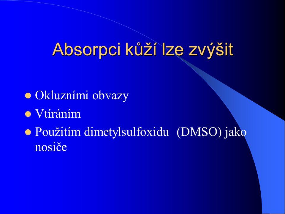 Absorpci kůží lze zvýšit Okluzními obvazy Vtíráním Použitím dimetylsulfoxidu (DMSO) jako nosiče