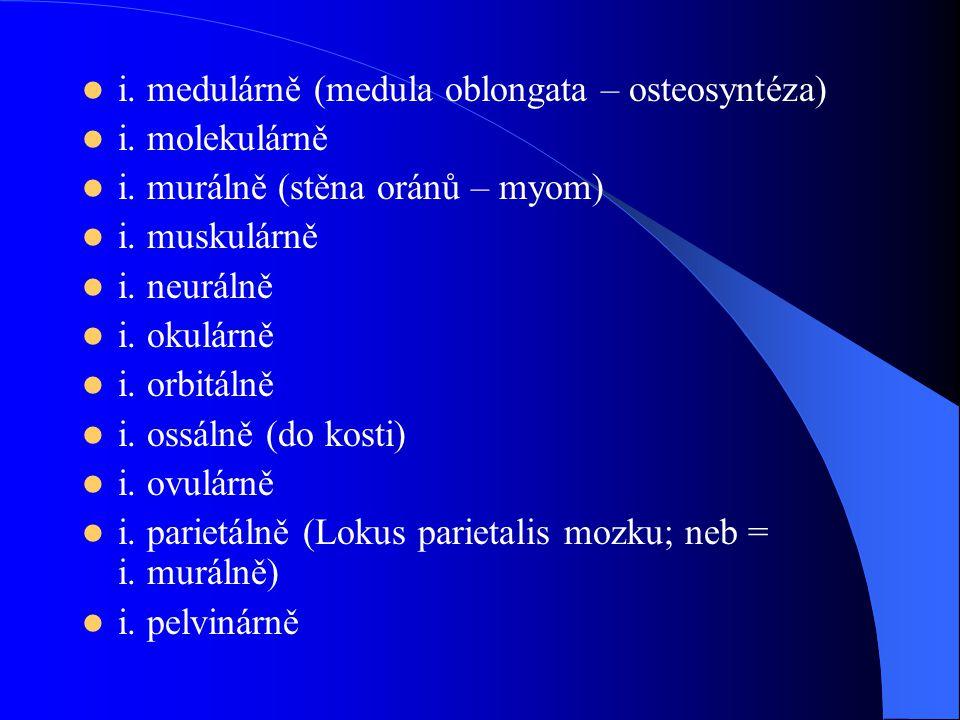 i. medulárně (medula oblongata – osteosyntéza) i. molekulárně i. murálně (stěna oránů – myom) i. muskulárně i. neurálně i. okulárně i. orbitálně i. os