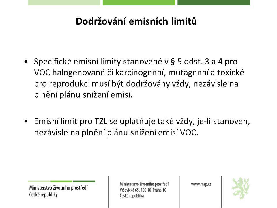 Specifické emisní limity stanovené v § 5 odst. 3 a 4 pro VOC halogenované či karcinogenní, mutagenní a toxické pro reprodukci musí být dodržovány vždy
