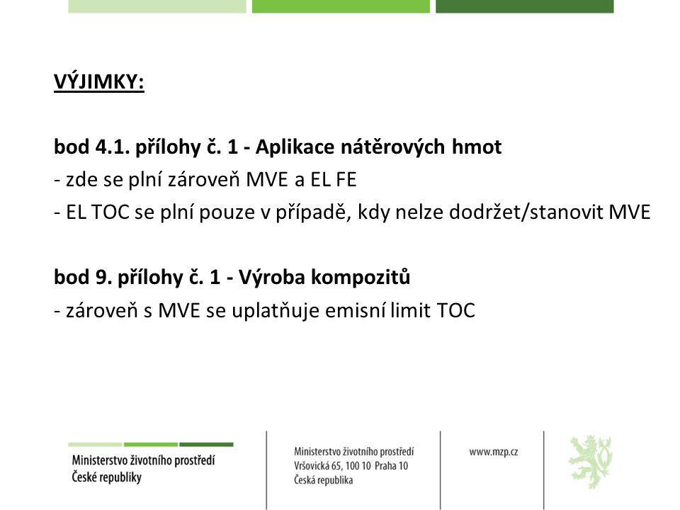 VÝJIMKY: bod 4.1. přílohy č. 1 - Aplikace nátěrových hmot - zde se plní zároveň MVE a EL FE - EL TOC se plní pouze v případě, kdy nelze dodržet/stanov