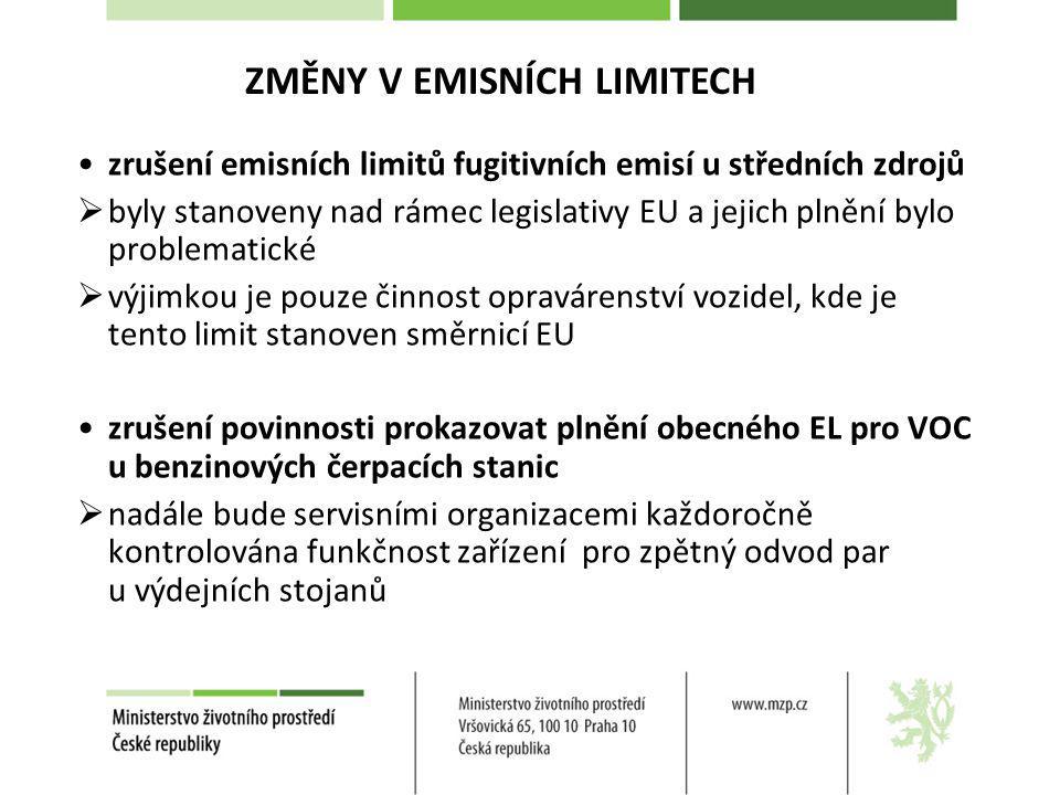 zrušení emisních limitů fugitivních emisí u středních zdrojů  byly stanoveny nad rámec legislativy EU a jejich plnění bylo problematické  výjimkou j