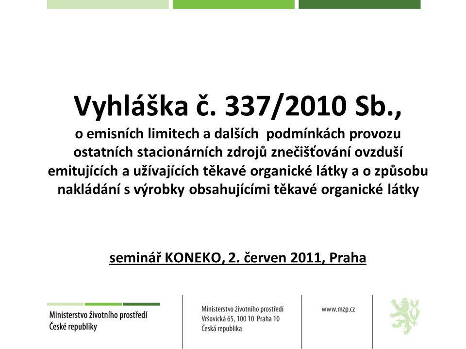 Vyhláška č. 337/2010 Sb., o emisních limitech a dalších podmínkách provozu ostatních stacionárních zdrojů znečišťování ovzduší emitujících a užívající