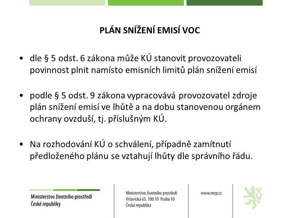 PLÁN SNÍŽENÍ EMISÍ VOC dle § 5 odst. 6 zákona může KÚ stanovit provozovateli povinnost plnit namísto emisních limitů plán snížení emisí podle § 5 odst