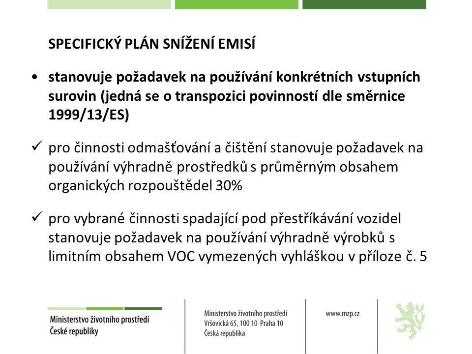 SPECIFICKÝ PLÁN SNÍŽENÍ EMISÍ stanovuje požadavek na používání konkrétních vstupních surovin (jedná se o transpozici povinností dle směrnice 1999/13/E