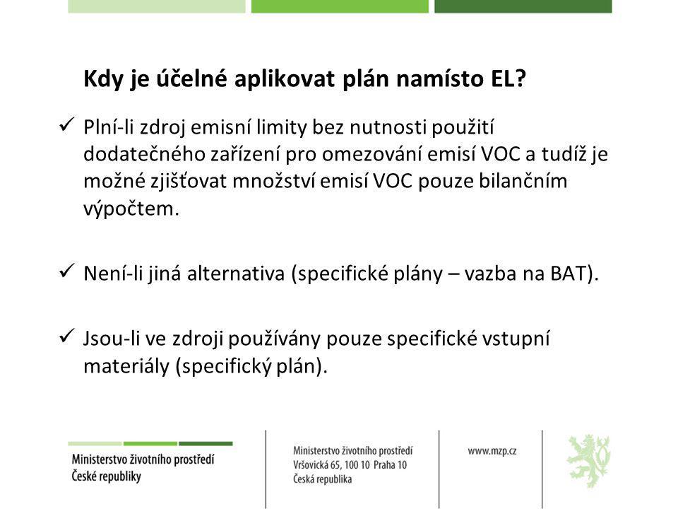 Kdy je účelné aplikovat plán namísto EL? Plní-li zdroj emisní limity bez nutnosti použití dodatečného zařízení pro omezování emisí VOC a tudíž je možn