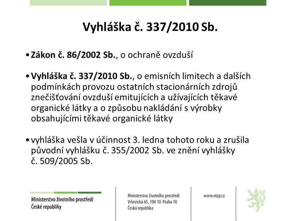 Vyhláška č. 337/2010 Sb. Zákon č. 86/2002 Sb., o ochraně ovzduší Vyhláška č. 337/2010 Sb., o emisních limitech a dalších podmínkách provozu ostatních