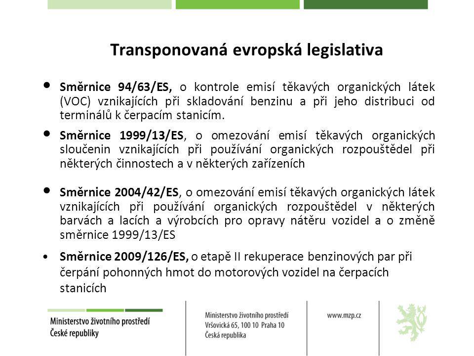Transponovaná evropská legislativa Směrnice 94/63/ES, o kontrole emisí těkavých organických látek (VOC) vznikajících při skladování benzinu a při jeho