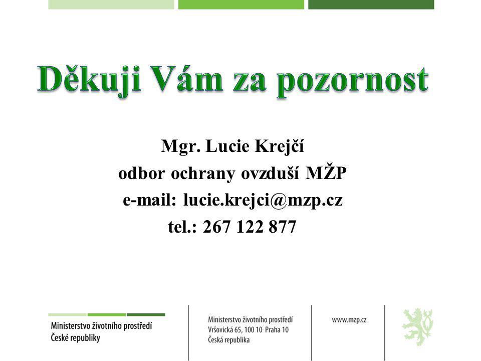 Mgr. Lucie Krejčí odbor ochrany ovzduší MŽP e-mail: lucie.krejci@mzp.cz tel.: 267 122 877