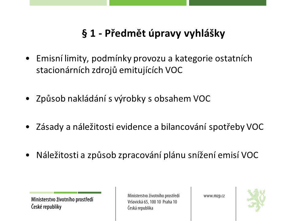 § 1 - Předmět úpravy vyhlášky Emisní limity, podmínky provozu a kategorie ostatních stacionárních zdrojů emitujících VOC Způsob nakládání s výrobky s