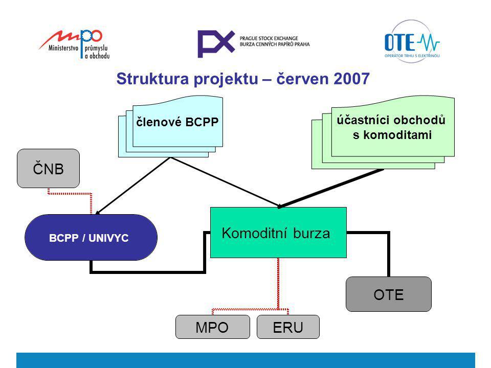 Struktura projektu – červen 2007 členové BCPP účastníci obchodů s komoditami