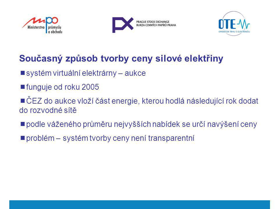 Návrh řešení - nový transparentní trh  MPO a BCPP se rozhodly reagovat na poptávku po transparentní tvorbě cen elektřiny  po konzultacích s MPO a ČNB navrhují BCPP a OTE vytvořit novou komoditní burzu, která by využila obchodního systému a zkušeností BCPP a vypořádacího systému OTE  na nové komoditní burze se bude obchodovat veškerá produkce ČEZ  stát bude mít významné kontrolní mechanismy (jako regulátor, zástupce v burzovní komoře, burzovní komisař, zákon 256/2004 Sb.)