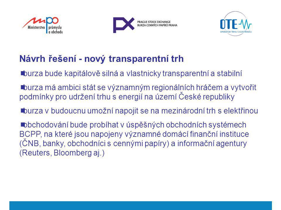 Návrh řešení - nový transparentní trh  burza bude kapitálově silná a vlastnicky transparentní a stabilní  burza má ambici stát se významným regionál