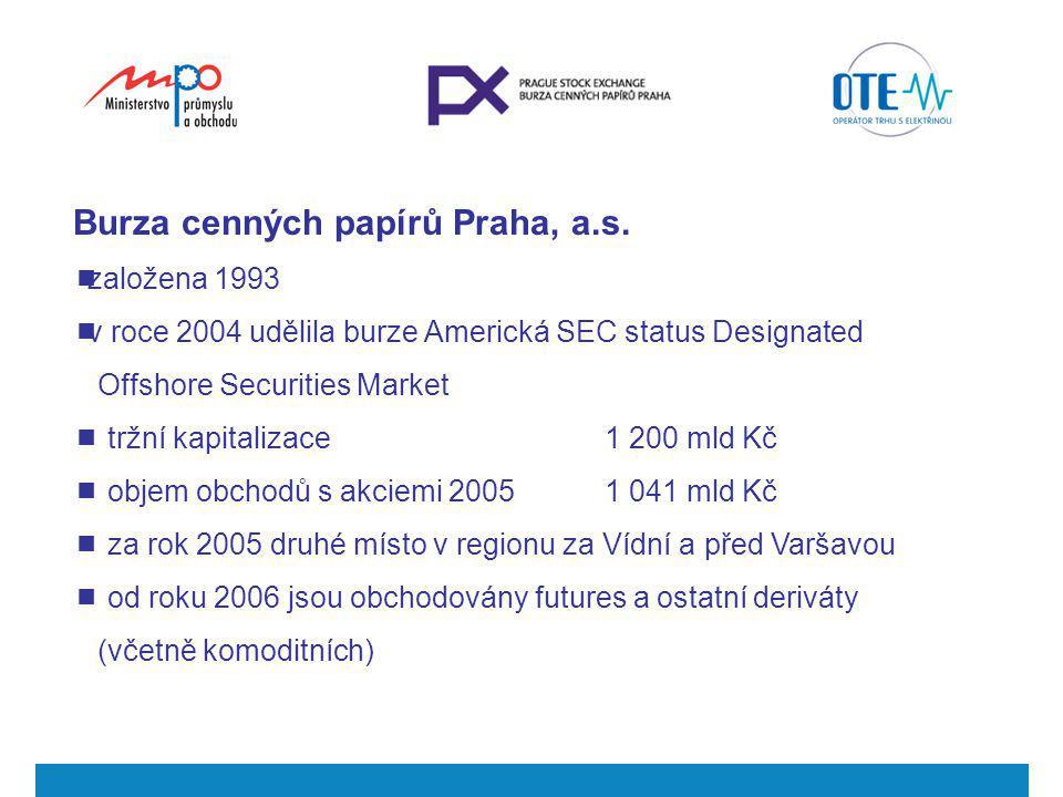 Burza cenných papírů Praha, a.s.  založena 1993  v roce 2004 udělila burze Americká SEC status Designated Offshore Securities Market  tržní kapital
