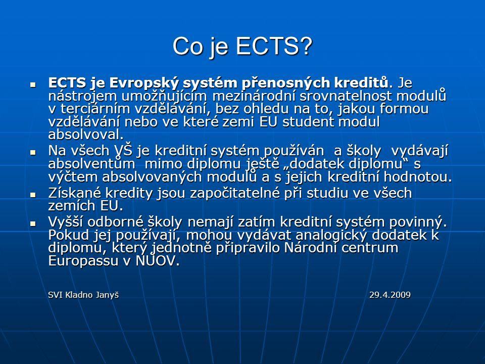 Co je ECTS. ECTS je Evropský systém přenosných kreditů.