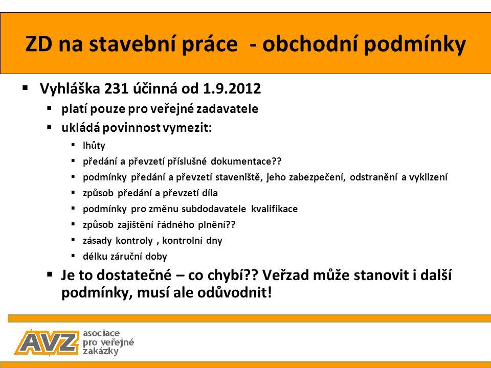 ZD na stavební práce - obchodní podmínky  Vyhláška 231 účinná od 1.9.2012  platí pouze pro veřejné zadavatele  ukládá povinnost vymezit:  lhůty 