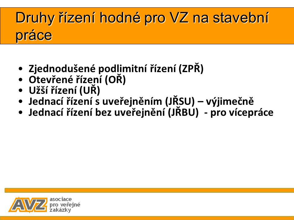 Druhy řízení hodné pro VZ na stavební práce Zjednodušené podlimitní řízení (ZPŘ) Otevřené řízení (OŘ) Užší řízení (UŘ) Jednací řízení s uveřejněním (J