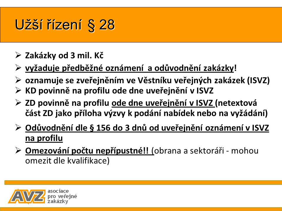 Užší řízení § 28  Zakázky od 3 mil. Kč  vyžaduje předběžné oznámení a odůvodnění zakázky!  oznamuje se zveřejněním ve Věstníku veřejných zakázek (I