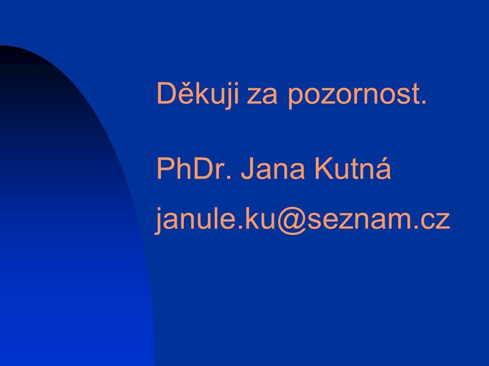 Děkuji za pozornost. PhDr. Jana Kutná janule.ku@seznam.cz