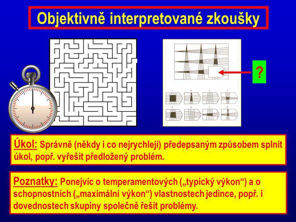 Objektivně interpretované zkoušky Úkol: Správně (někdy i co nejrychleji) předepsaným způsobem splnit úkol, popř. vyřešit předložený problém. Poznatky: